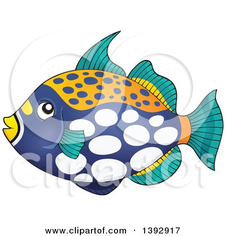 Clipart of a Clown Triggerfish Marine Fish - Royalty Free Vector Illustration by visekart