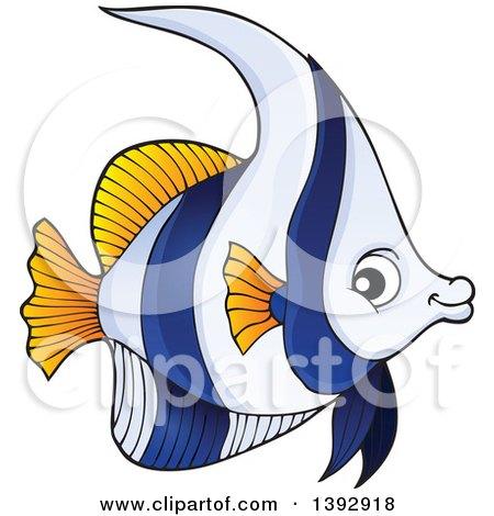 Clipart of a False Moorish Idol Marine Fish - Royalty Free Vector Illustration by visekart