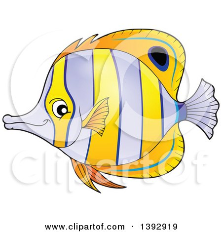 Clipart of a Copperband Butterflyfish - Royalty Free Vector Illustration by visekart
