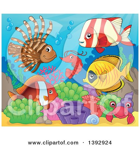 Clipart of a Shrimp, Crab and Group of Marine Fish - Royalty Free Vector Illustration by visekart