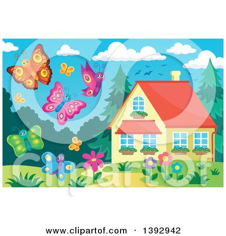 Clipart of Happy Butterflies - Royalty Free Vector Illustration by visekart