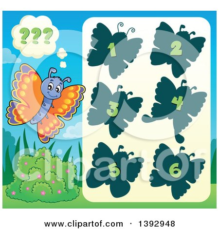 Clipart of a Butterfly Game - Royalty Free Vector Illustration by visekart