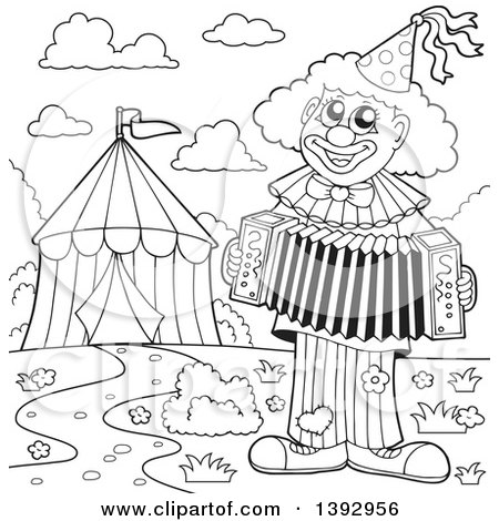 Clipart of a Black and White Lineart Circus Clown Playing an Accordian by a Big Top Tent - Royalty Free Vector Illustration by visekart