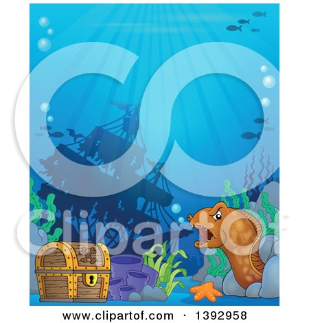 Clipart of a Sunken Ship, Treasure Chest and Eel - Royalty Free Vector Illustration by visekart