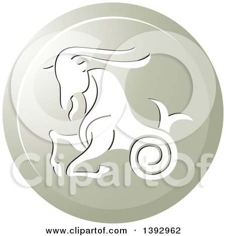 Clipart of a Round Gradient Capricorn Sea Goat Horoscope Astrology Icon - Royalty Free Vector Illustration by Lal Perera