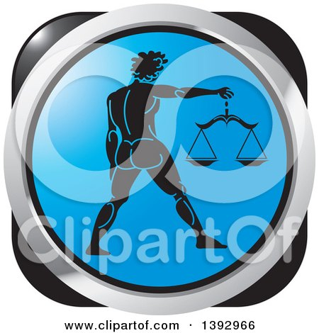Clipart of a Black Blue and Silver Libra Horoscope Astrology Icon - Royalty Free Vector Illustration by Lal Perera