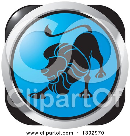 Clipart of a Black Blue and Silver Lion Leo Horoscope Astrology Icon - Royalty Free Vector Illustration by Lal Perera