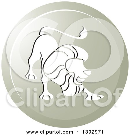Clipart of a Round Gradient Lion Leo Horoscope Astrology Icon - Royalty Free Vector Illustration by Lal Perera