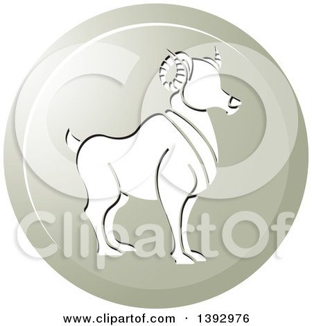 Clipart of a Round Gradient Aries Ram Horoscope Astrology Icon - Royalty Free Vector Illustration by Lal Perera
