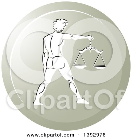 Clipart of a Round Gradient Libra Horoscope Astrology Icon - Royalty Free Vector Illustration by Lal Perera