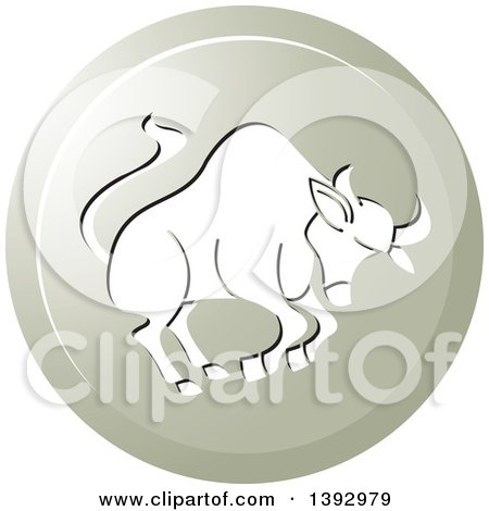 Clipart of a Round Gradient Taurus Bull Horoscope Astrology Icon - Royalty Free Vector Illustration by Lal Perera