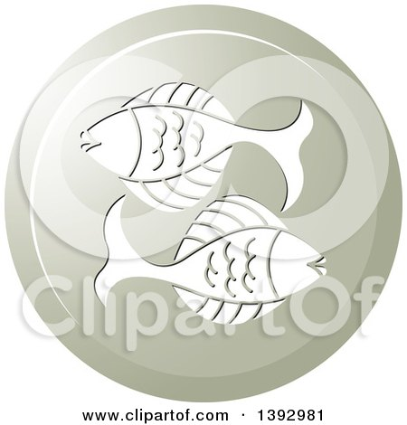 Clipart of a Round Gradient Pisces Fish Horoscope Astrology Icon - Royalty Free Vector Illustration by Lal Perera