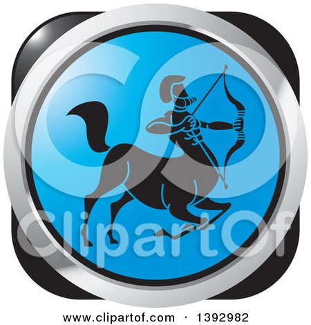 Clipart of a Black Silver and Blue Sagittarius Centaur Archer Horoscope Astrology Icon - Royalty Free Vector Illustration by Lal Perera
