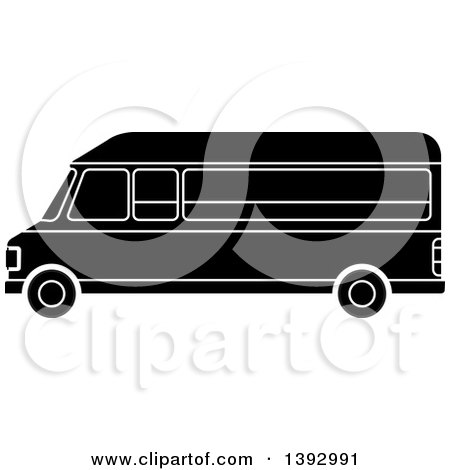 Clipart Of A Black And White Van Royalty Free Vector Illustration