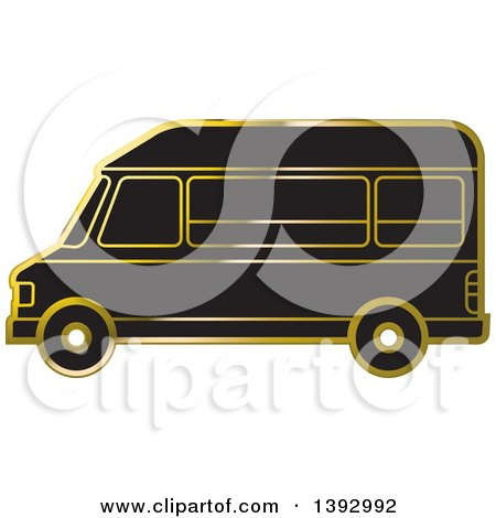 Clipart of a Black and Gold Van - Royalty Free Vector Illustration by Lal Perera