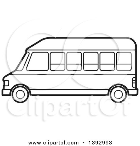 Clipart of a Black and White Lineart Van - Royalty Free Vector Illustration by Lal Perera