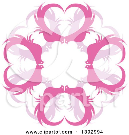 Clipart of a Circle of Pink Heart Birds - Royalty Free Vector Illustration by Lal Perera
