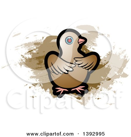 Clipart of a Dove over Brown Paint Strokes - Royalty Free Vector Illustration by Lal Perera