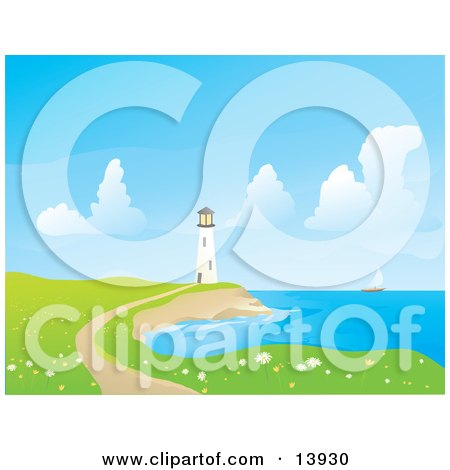 Trail Leading Through a Field of Flowers to a Coastal Lighthouse Clipart Illustration by Rasmussen Images