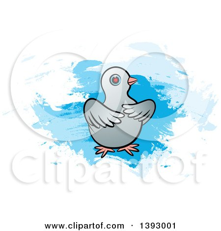 Clipart of a Dove over Blue Paint Strokes - Royalty Free Vector Illustration by Lal Perera