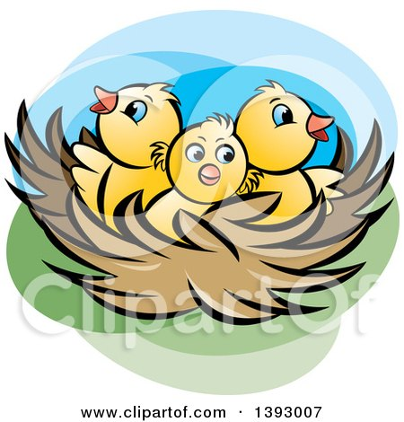 Clipart of a Nest with Yellow Chicks - Royalty Free Vector Illustration by Lal Perera