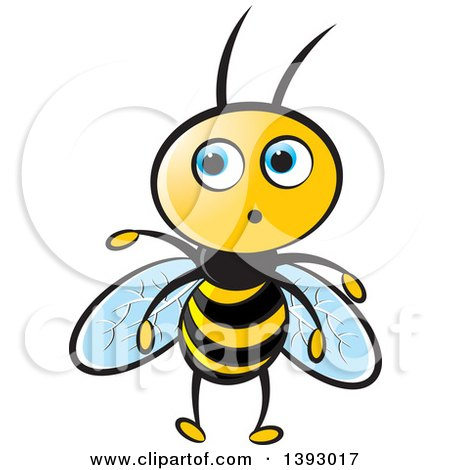 Clipart of a Surprised Blue Eyed Bee - Royalty Free Vector Illustration by Lal Perera