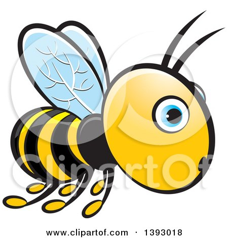 Clipart of a Surprised Flying Blue Eyed Bee - Royalty Free Vector Illustration by Lal Perera