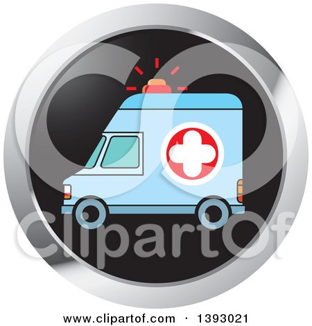 Clipart of a Round Ambulance Website Icon Button - Royalty Free Vector Illustration by Lal Perera