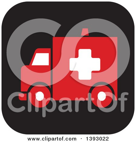Clipart of a Rounded Corner Square Ambulance Website Icon Button - Royalty Free Vector Illustration by Lal Perera