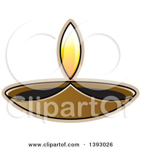 Clipart of a Lit Oil Lamp - Royalty Free Vector Illustration by Lal Perera