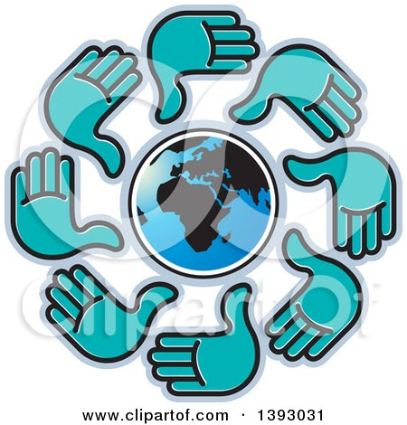 Clipart of a Cricle of Turquoise Hands Around Earth - Royalty Free Vector Illustration by Lal Perera