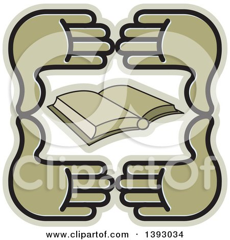 Clipart of a Group of Four Hands Around a Book - Royalty Free Vector Illustration by Lal Perera
