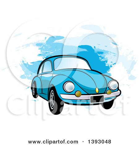 Clipart of a Blue VW Slug Bug Car over Blue Paint Strokes - Royalty Free Vector Illustration by Lal Perera