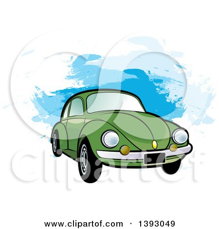 Clipart of a Green VW Slug Bug Car over Blue Paint Strokes - Royalty Free Vector Illustration by Lal Perera