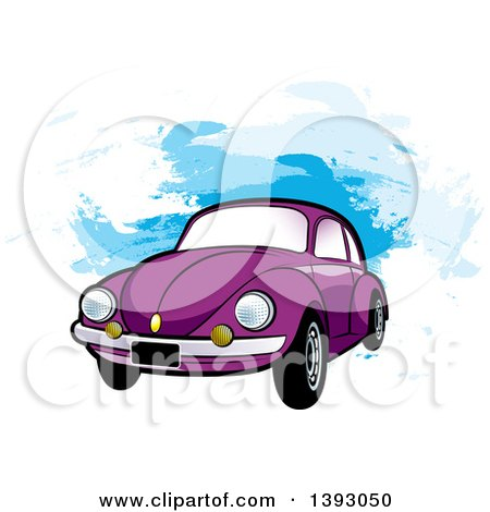 Clipart of a Purple VW Slug Bug Car over Blue Paint Strokes - Royalty Free Vector Illustration by Lal Perera