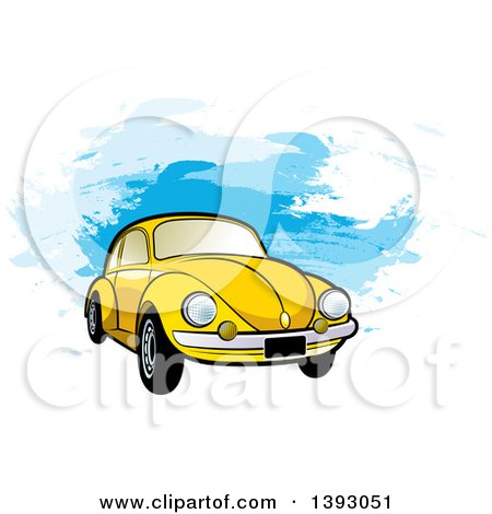 Clipart of a Yellow VW Slug Bug Car over Blue Paint Strokes - Royalty Free Vector Illustration by Lal Perera