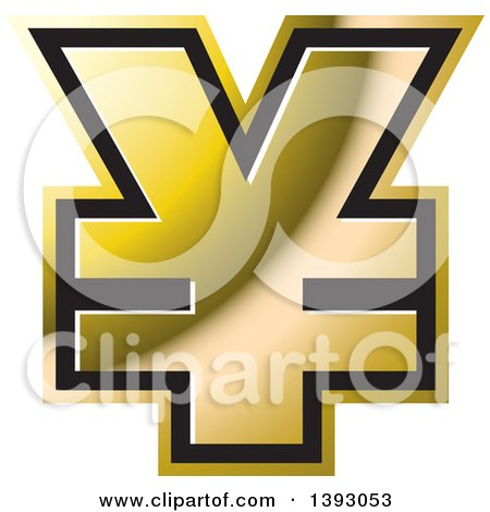 Clipart of a Gold Yen Currency Symbol - Royalty Free Vector Illustration by Lal Perera