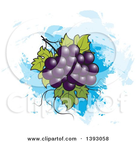 Clipart of a Bunch of Purple Grapes over Blue Paint Strokes - Royalty Free Vector Illustration by Lal Perera