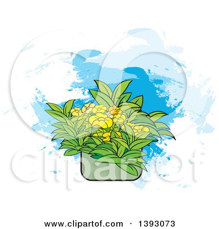 Clipart of Flowers in a Pot over Paint Strokes - Royalty Free Vector Illustration by Lal Perera