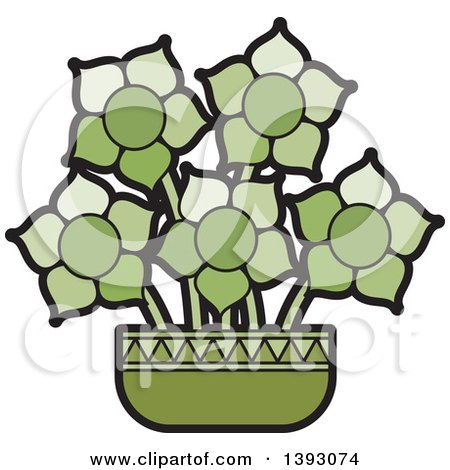 Clipart of a Green Vase of Flowers - Royalty Free Vector Illustration by Lal Perera