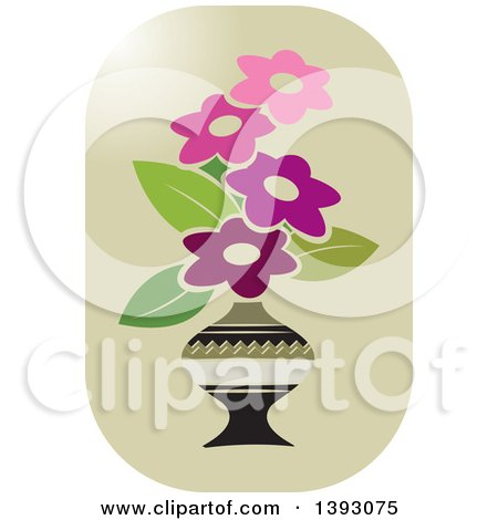 Clipart of a Vase of Flowers Icon - Royalty Free Vector Illustration by Lal Perera