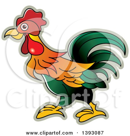 Clipart of a Rooster - Royalty Free Vector Illustration by Lal Perera