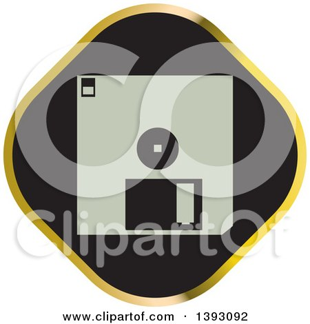 Clipart of a Black and Gold Floppy Disk Icon - Royalty Free Vector Illustration by Lal Perera