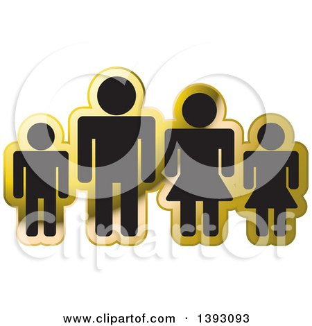 Clipart of a Black and Gold Family Icon - Royalty Free Vector Illustration by Lal Perera