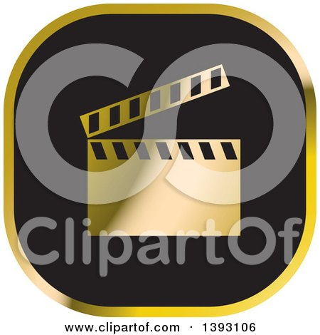 Black and Gold Clapperboard Icon Posters, Art Prints