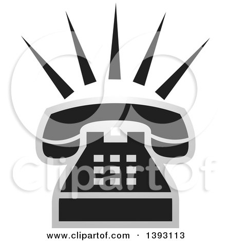 Clipart of a Black and Silver Ringing Phone Icon - Royalty Free Vector Illustration by Lal Perera