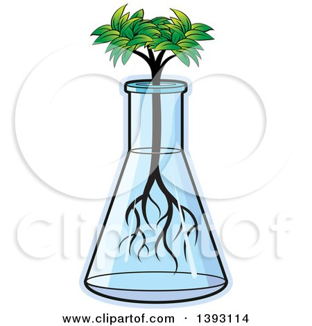Clipart of a Seedling Tree Growing in a Beaker - Royalty Free Vector Illustration by Lal Perera