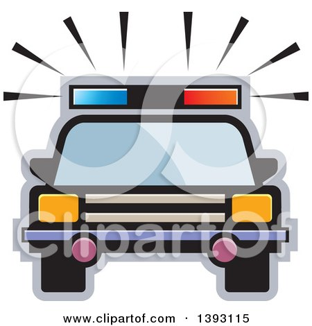 Clipart of a Police Car - Royalty Free Vector Illustration by Lal Perera
