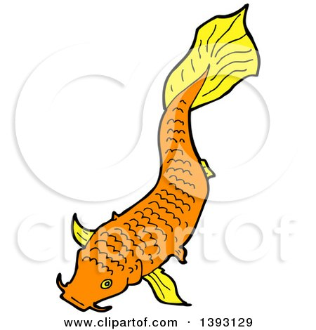 Clipart of an Orange Koi Carp Fish - Royalty Free Vector Illustration by lineartestpilot