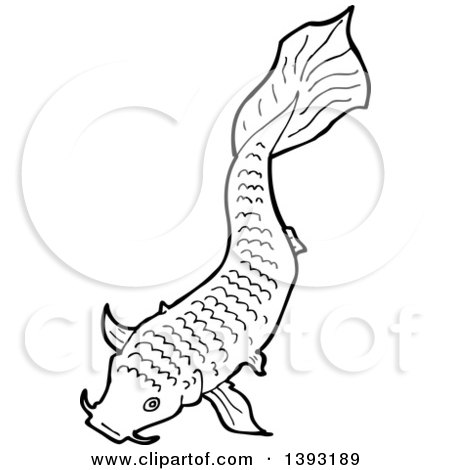 Clipart of a Black and White Lineart Koi Carp Fish - Royalty Free Vector Illustration by lineartestpilot